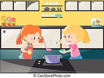 Two girls cooking soup in kitchen