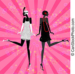 two girls dancing - on an abstract pink background are two...