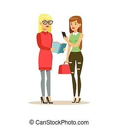 Two Girls Discussing A Book, Smiling Person In The Library Vector Illustration