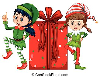 Two girls dressed in elf costume and red present box