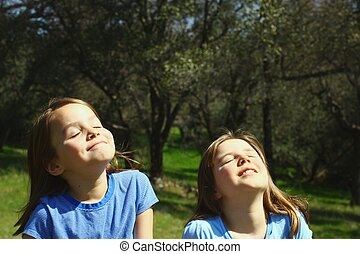 Two girls enjoying the sunshine - Two cute girls basking in...