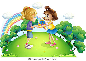 Two girls exchanging gifts at the hilltop - Illustration of...