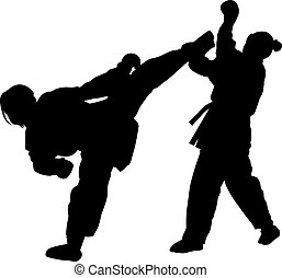 Karate martial art silhouettes of men and women in sword fight