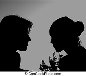 TWO GIRLS - Girls Almost Kissing (Silhouettes)