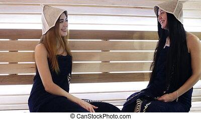 two girls go to the sauna - girls go to the sauna