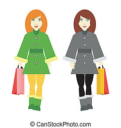 two girls going shopping