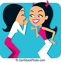 Two girls gossiping Illustration - Two girls, representing...