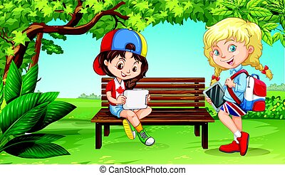 Two girls hanging out in the park illustration