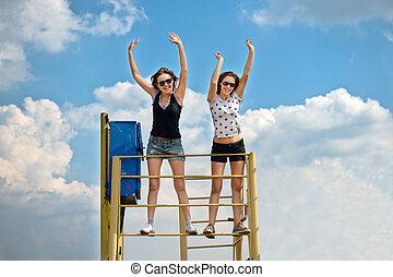 Two girls have fun.