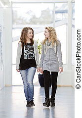 two girls having a conversation