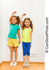 Two girls hold hands over hand near scale on wall - Two...