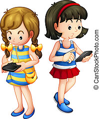Two girls holding a gadget - Illustration of two girls ...