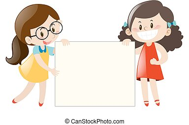 Two girls holding blank banner