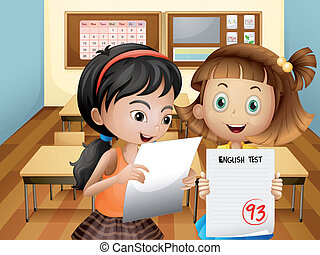 Two girls holding their exam results - Illustration of the...