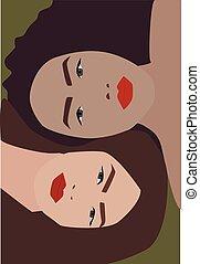 Two girls, illustration, vector on white background.