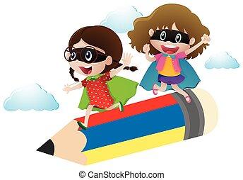 Two girls in hero costume