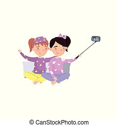 Two girls in pajamas making selfie photo cartoon vector Illustration
