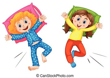 Two girls in pyjams at slumber party illustration