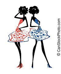 Two girls in summer dresses
