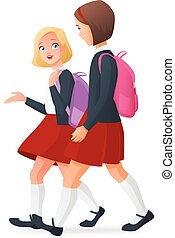 Two girls in uniform on the way to school. Vector illustration.