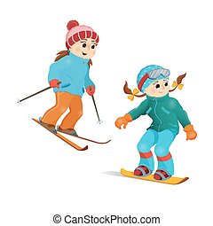 Two girls in warm clothes snowboarding and skiing