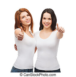 two girls in white t-shirts showing thumbs up - friendship,...