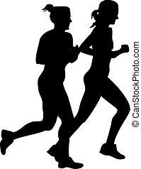 Two girls jogging