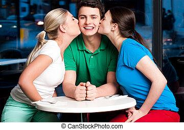 Group of girls kissing