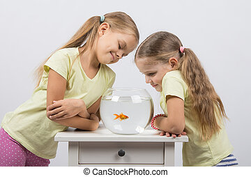 Two girls looking at a goldfish