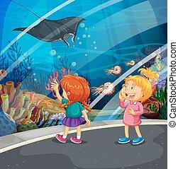 Two girls looking at stingray at the aquarium illustration
