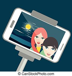 Two girls making night selfie photo with moon light.  cartoon illustration.