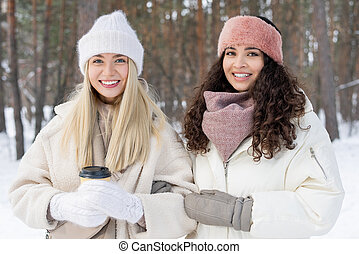 Two Girls On Winter Day
