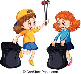 Two girls picking up trash illustration