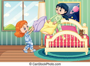 Two girls play pillow fighting in bedroom