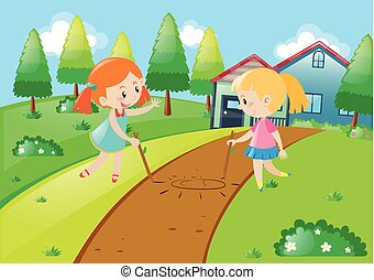 Two girls playing at home