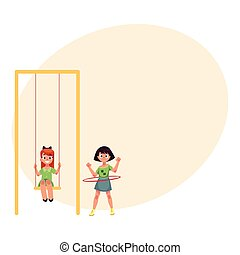 Two girls playing at playground, swinging and spinning hula hoop