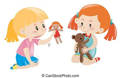 Two girls playing doll and teddy bear