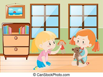 Two girls playing dolls in the room illustration