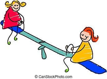 seasaw - two girls playing on a seasaw - toddler art