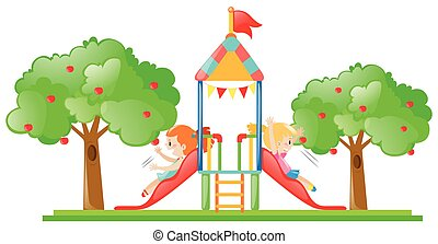Two girls playing on slide