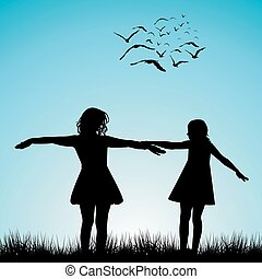 Two girls playing outdoor - Silhouettes of two girls playing...
