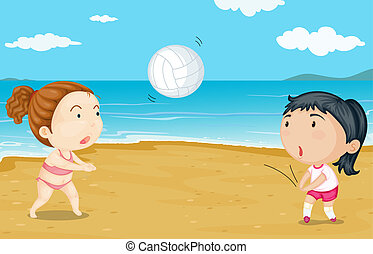 Two girls playing volleyball