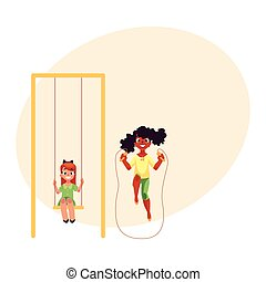 Two girls playing with jumping rope and swinging at playground