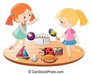 Two girls playing with toys