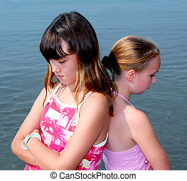 Two girls pouting - Portrait of two girls pouting