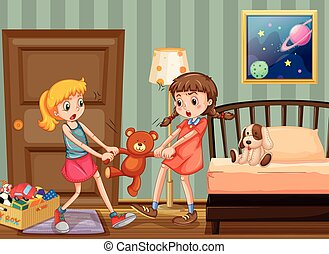 Two girls pulling teddy bear in bedroom