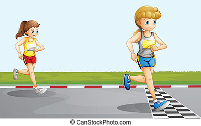 Two girls racing