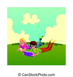 Two girls, reading book anf playing with mobile phone, lying