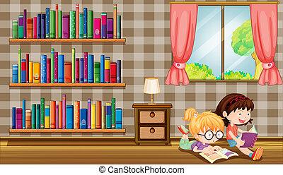 Two girls reading books beside the bookshelves