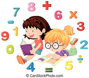 Two girls reading math book